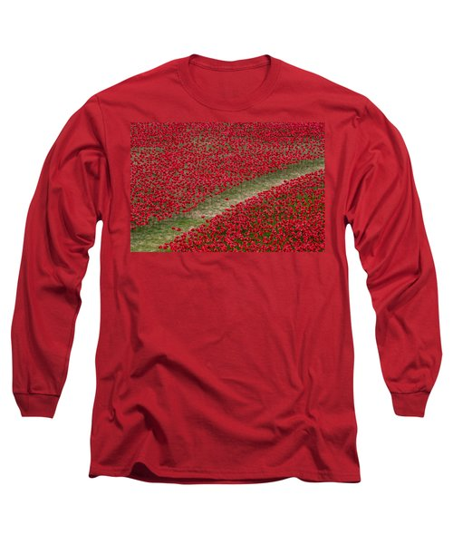 Poppies Of Remembrance Long Sleeve T-Shirt by Martin Newman