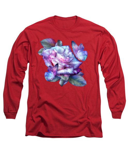 Purple Rose And Butterflies Long Sleeve T-Shirt by Carol Cavalaris