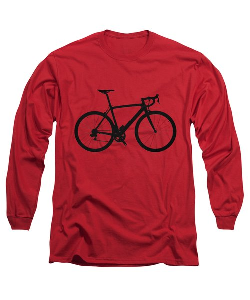 Road Bike Silhouette - Black On Red Canvas Long Sleeve T-Shirt by Serge Averbukh