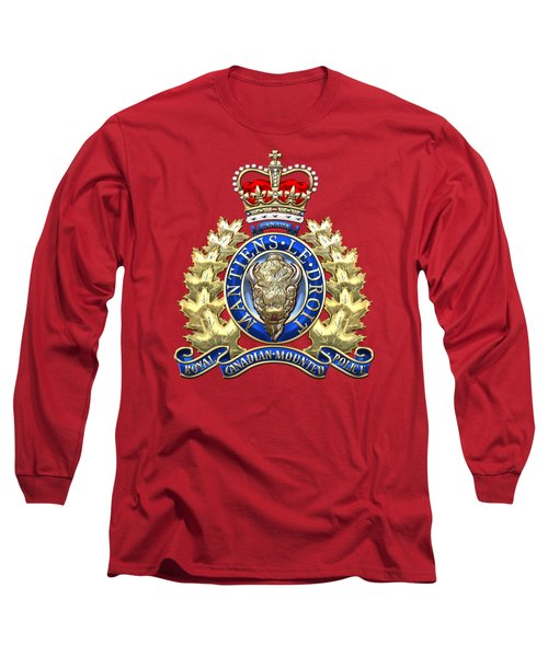 Royal Canadian Mounted Police - Rcmp Badge On Red Leather Long Sleeve T-Shirt by Serge Averbukh