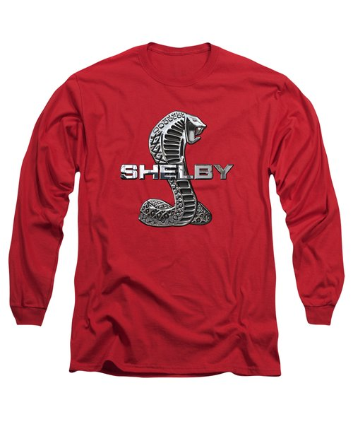 Shelby Cobra - 3d Badge On Red Long Sleeve T-Shirt by Serge Averbukh