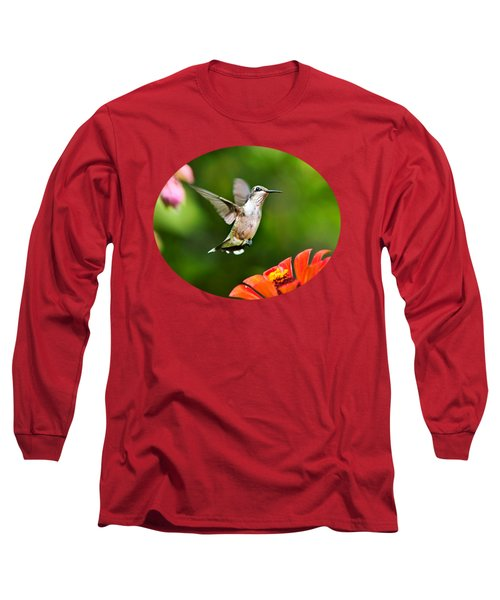 Shimmering Breeze Hummingbird Long Sleeve T-Shirt by Christina Rollo