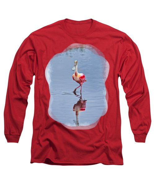 Spoonbill 2 Long Sleeve T-Shirt by John M Bailey