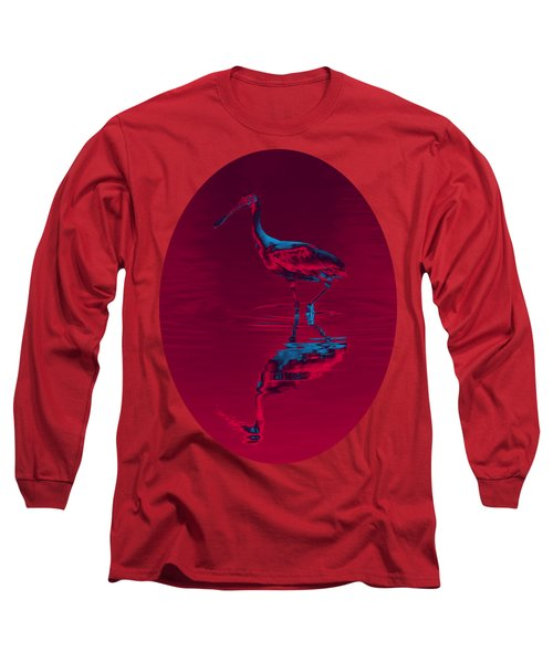 Spoonbill Abstract Decor Long Sleeve T-Shirt by John M Bailey