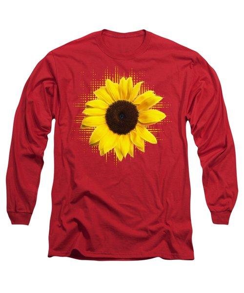 Sunflower Sunburst Long Sleeve T-Shirt by Gill Billington