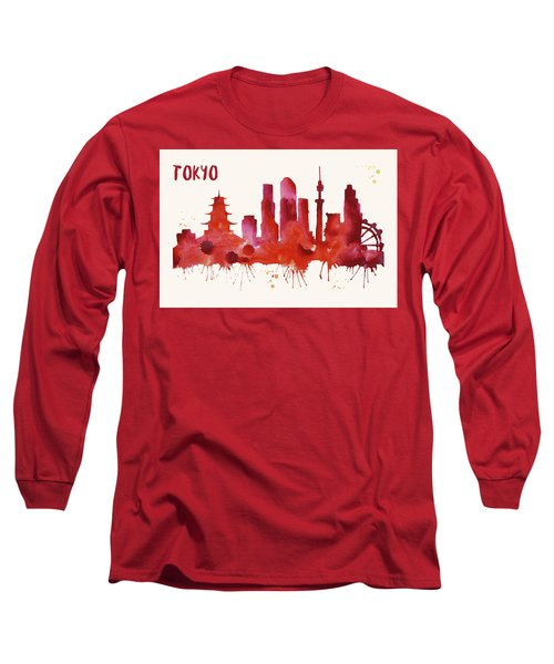 Tokyo Skyline Watercolor Poster - Cityscape Painting Artwork Long Sleeve T-Shirt by Beautify My Walls