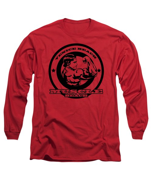 Venice Beach Arnold Muscle Long Sleeve T-Shirt by Alex Soro