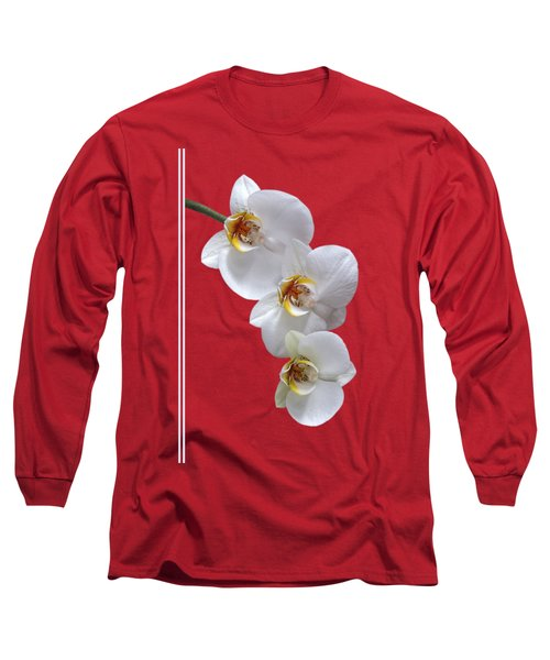 White Orchids On Terracotta Vdertical Long Sleeve T-Shirt by Gill Billington
