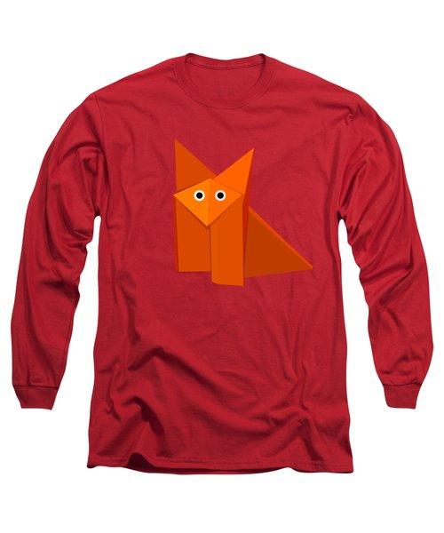 Yellow Cute Origami Fox Long Sleeve T-Shirt by Boriana Giormova