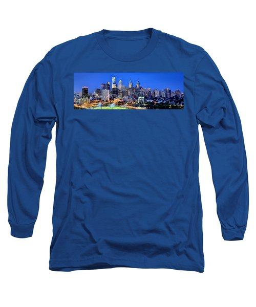 Philadelphia Skyline At Night Evening Panorama Long Sleeve T-Shirt by Jon Holiday