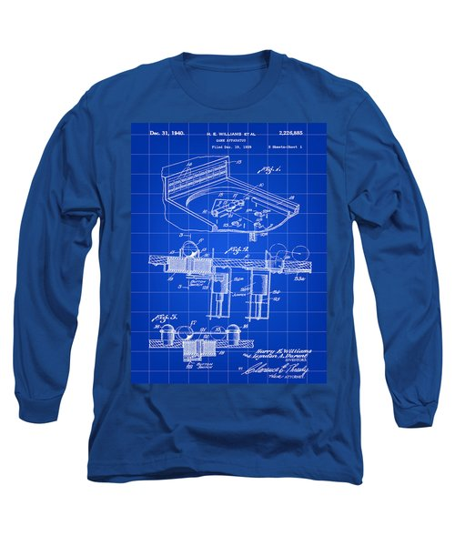 Pinball Machine Patent 1939 - Blue Long Sleeve T-Shirt by Stephen Younts