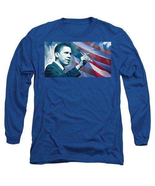 Barack Obama Artwork 2 Long Sleeve T-Shirt by Sheraz A