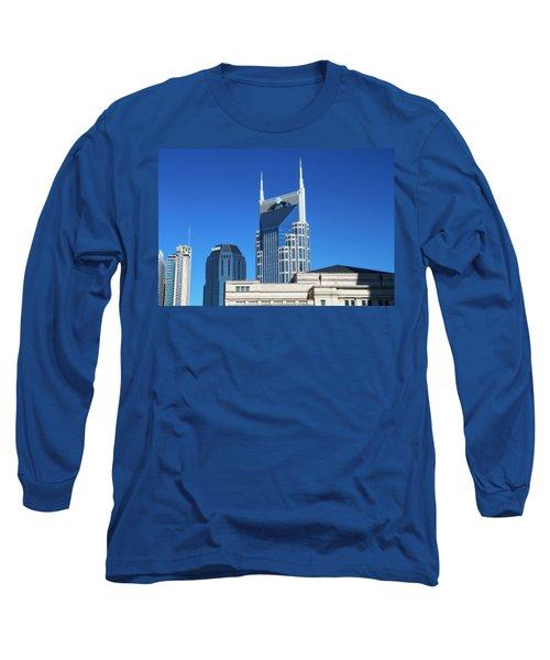 Batman Building And Nashville Skyline Long Sleeve T-Shirt by Dan Sproul