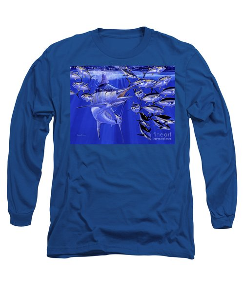 Blue Marlin Round Up Off0031 Long Sleeve T-Shirt by Carey Chen