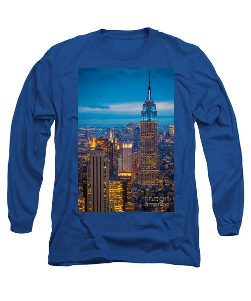 Empire State Blue Night Long Sleeve T-Shirt by Inge Johnsson