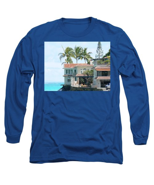 House At Land's End Long Sleeve T-Shirt by Dona  Dugay