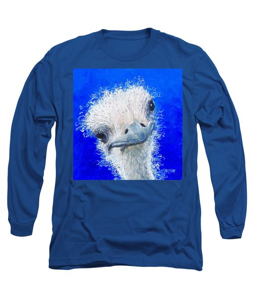 Ostrich Painting 'waldo' By Jan Matson Long Sleeve T-Shirt by Jan Matson
