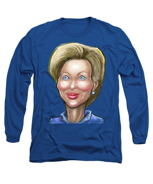 Hillary Clinton Caricature Long Sleeve T-Shirt by Kevin Middleton