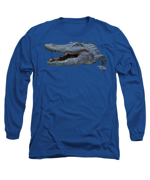 1998 Bull Gator Up Close Transparent For Customization Long Sleeve T-Shirt by D Hackett