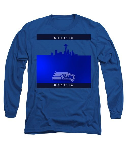 Seattle Seahawks Skyline Long Sleeve T-Shirt by Alberto RuiZ