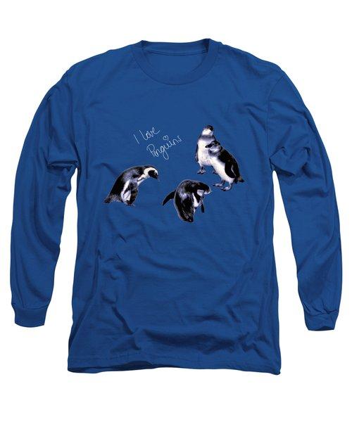 Cute Penguins Long Sleeve T-Shirt by Pennie  McCracken