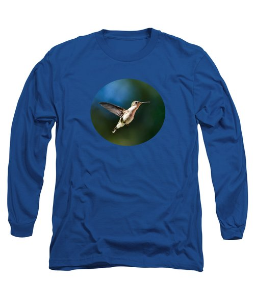 Ruby-throated Hummingbird And Pink Verbena Long Sleeve T-Shirt by Christina Rollo