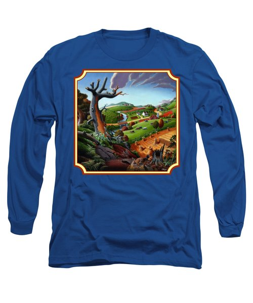 Autumn Wheat Harvest Country Farm Life Landscape - Square Format Long Sleeve T-Shirt by Walt Curlee