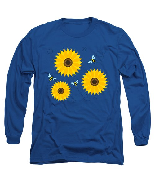 Busy Bees And Sunflowers - Large Long Sleeve T-Shirt by Shara Lee
