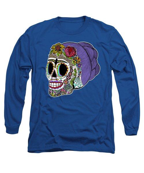 Catrina Sugar Skull Long Sleeve T-Shirt by Tammy Wetzel