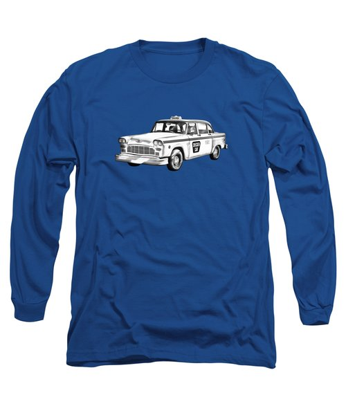 Checkered Taxi Cab Illustrastion Long Sleeve T-Shirt by Keith Webber Jr