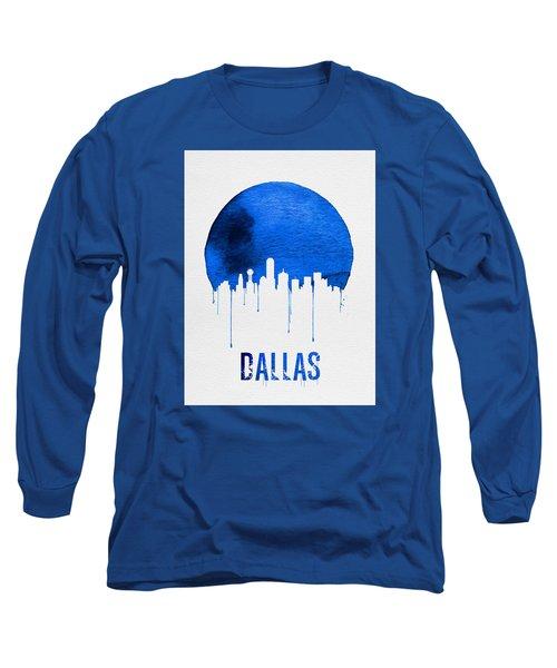 Dallas Skyline Blue Long Sleeve T-Shirt by Naxart Studio