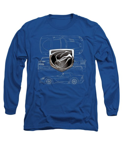 Dodge Viper  3 D  Badge Over Dodge Viper S R T 10 Blueprint  Long Sleeve T-Shirt by Serge Averbukh