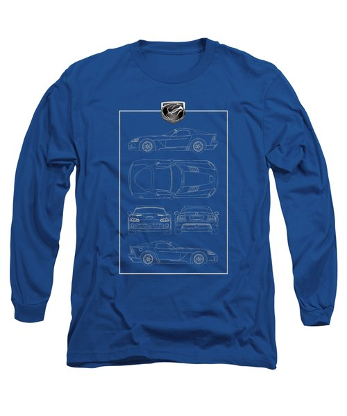 Dodge Viper  S R T 10  Blueprint With Dodge Viper  3 D  Badge Over Long Sleeve T-Shirt by Serge Averbukh