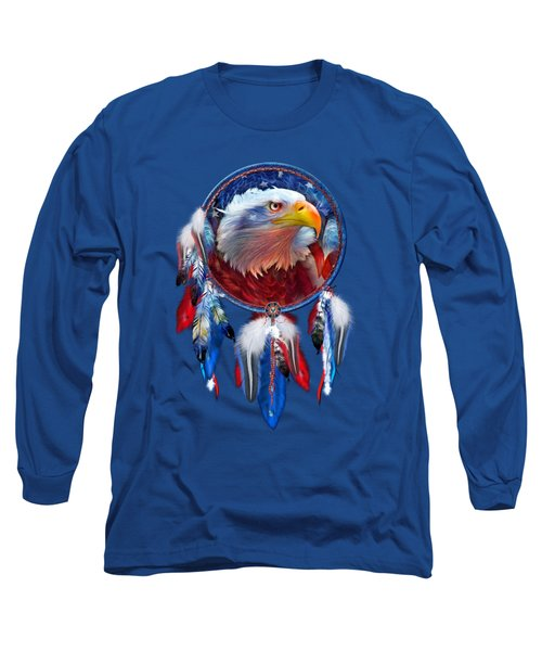 Dream Catcher - Eagle Red White Blue Long Sleeve T-Shirt by Carol Cavalaris