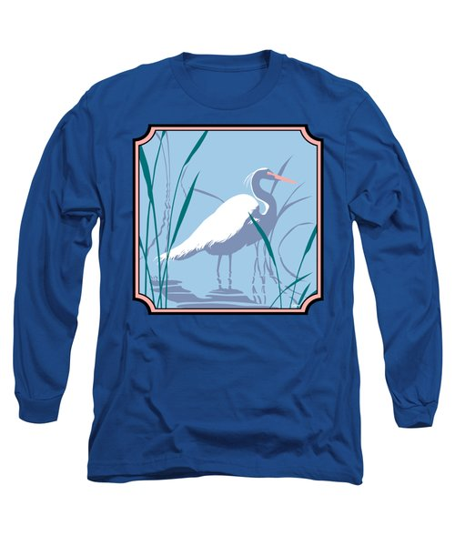 Egret Tropical Abstract - Square Format Long Sleeve T-Shirt by Walt Curlee