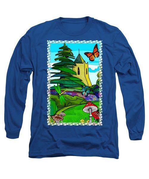 English Garden Whimsical Folk Art Long Sleeve T-Shirt by Sharon and Renee Lozen