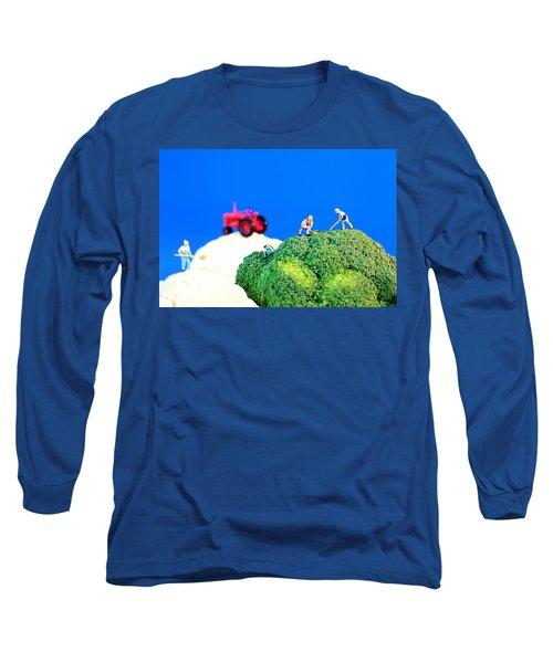 Farming On Broccoli And Cauliflower II Long Sleeve T-Shirt by Paul Ge