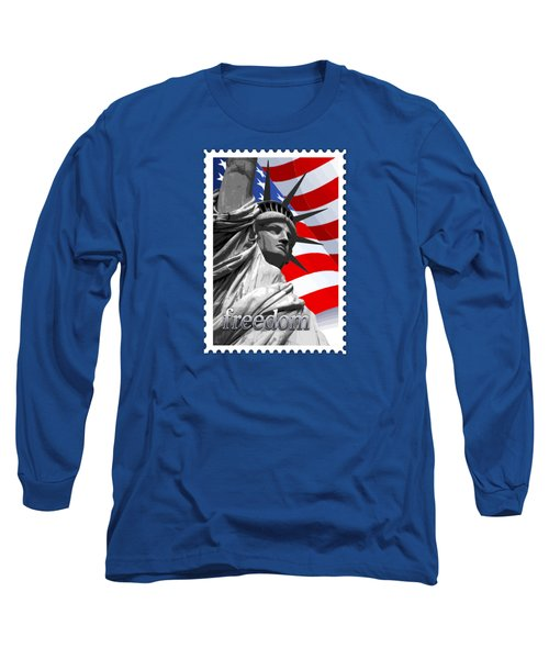 Graphic Statue Of Liberty With American Flag Text Freedom Long Sleeve T-Shirt by Elaine Plesser