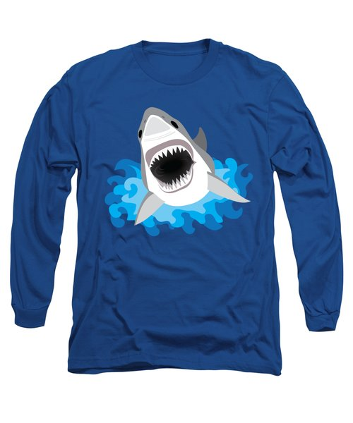 Great White Shark Leaps From Waves Long Sleeve T-Shirt by Antique Images