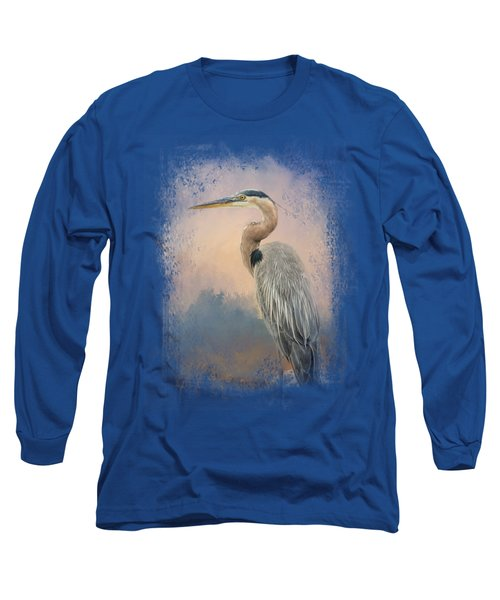 Heron On The Rocks Long Sleeve T-Shirt by Jai Johnson