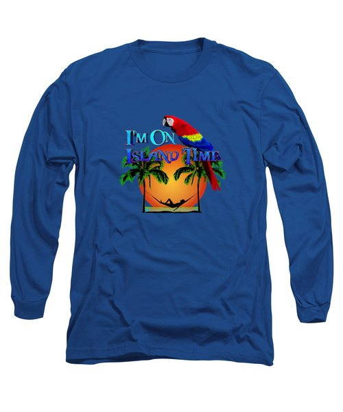 Island Time And Parrot Long Sleeve T-Shirt by Chris MacDonald