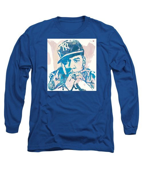 Jay-z  Etching Pop Art Poster Long Sleeve T-Shirt by Kim Wang