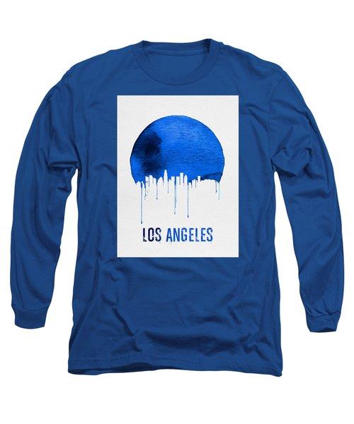 Los Angeles Skyline Blue Long Sleeve T-Shirt by Naxart Studio
