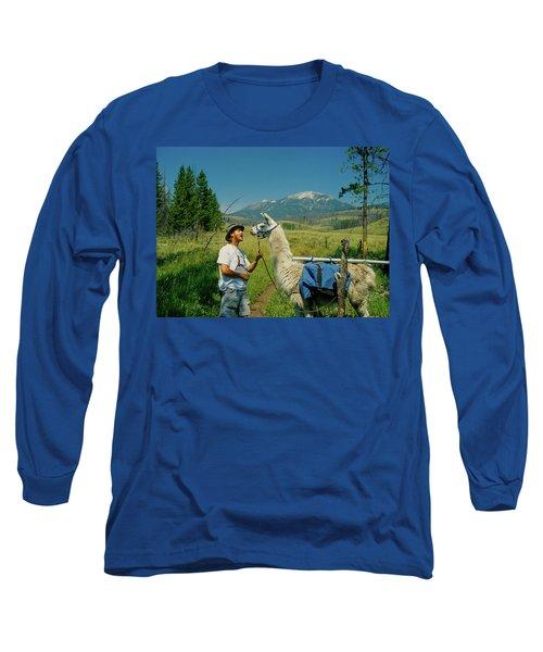 Man Teasing A Llama Long Sleeve T-Shirt by Jerry Voss