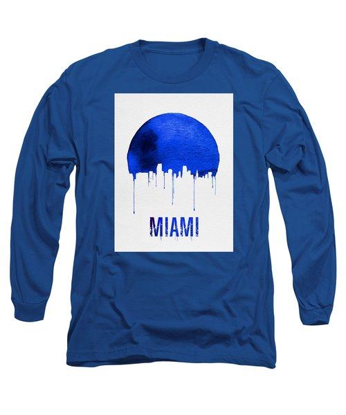 Miami Skyline Blue Long Sleeve T-Shirt by Naxart Studio