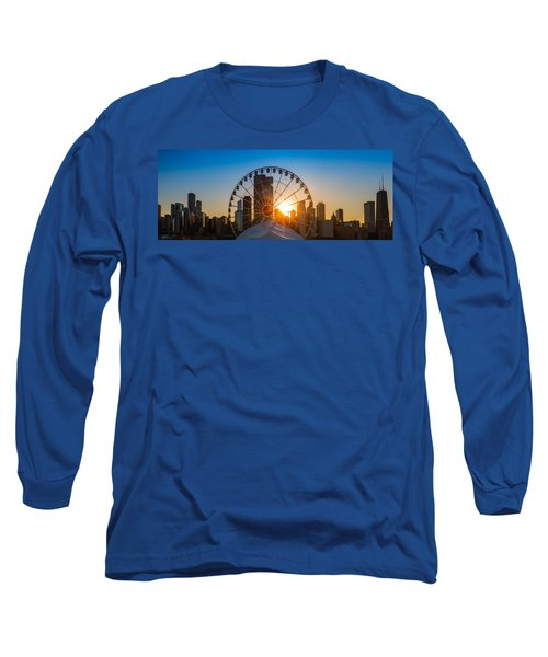 Navy Pier Sundown Chicago Long Sleeve T-Shirt by Steve Gadomski