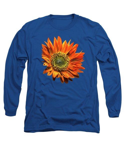 Orange Sunflower Long Sleeve T-Shirt by Christina Rollo