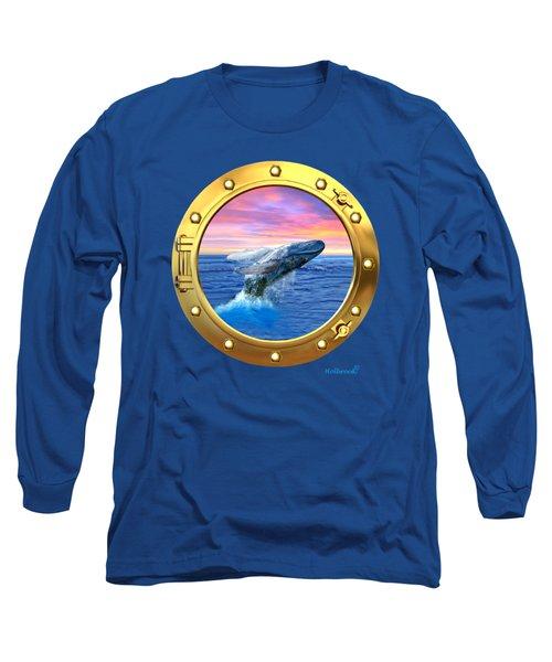 Porthole View Of Breaching Whale Long Sleeve T-Shirt by Glenn Holbrook
