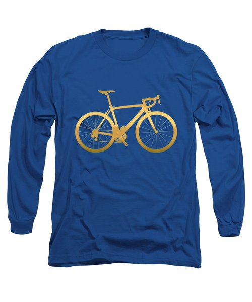 Road Bike Silhouette - Gold On Beige Canvas Long Sleeve T-Shirt by Serge Averbukh