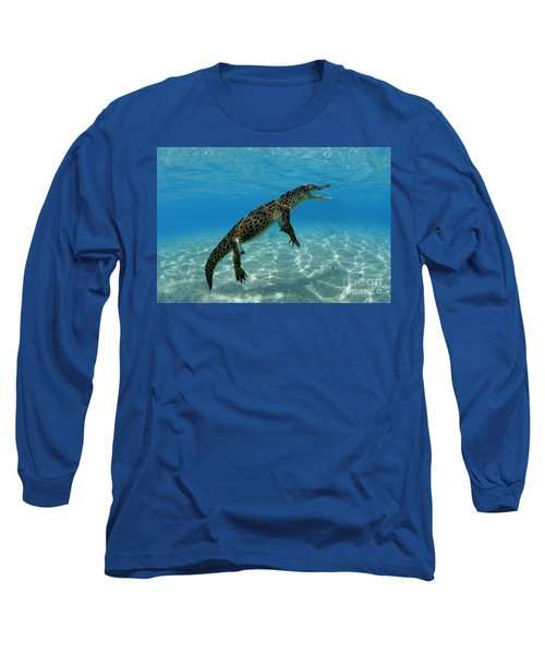Saltwater Crocodile Long Sleeve T-Shirt by Franco Banfi and Photo Researchers